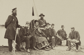 Kate Chase Sprague with Gen. J. J. Abercrombie and staff around 1863