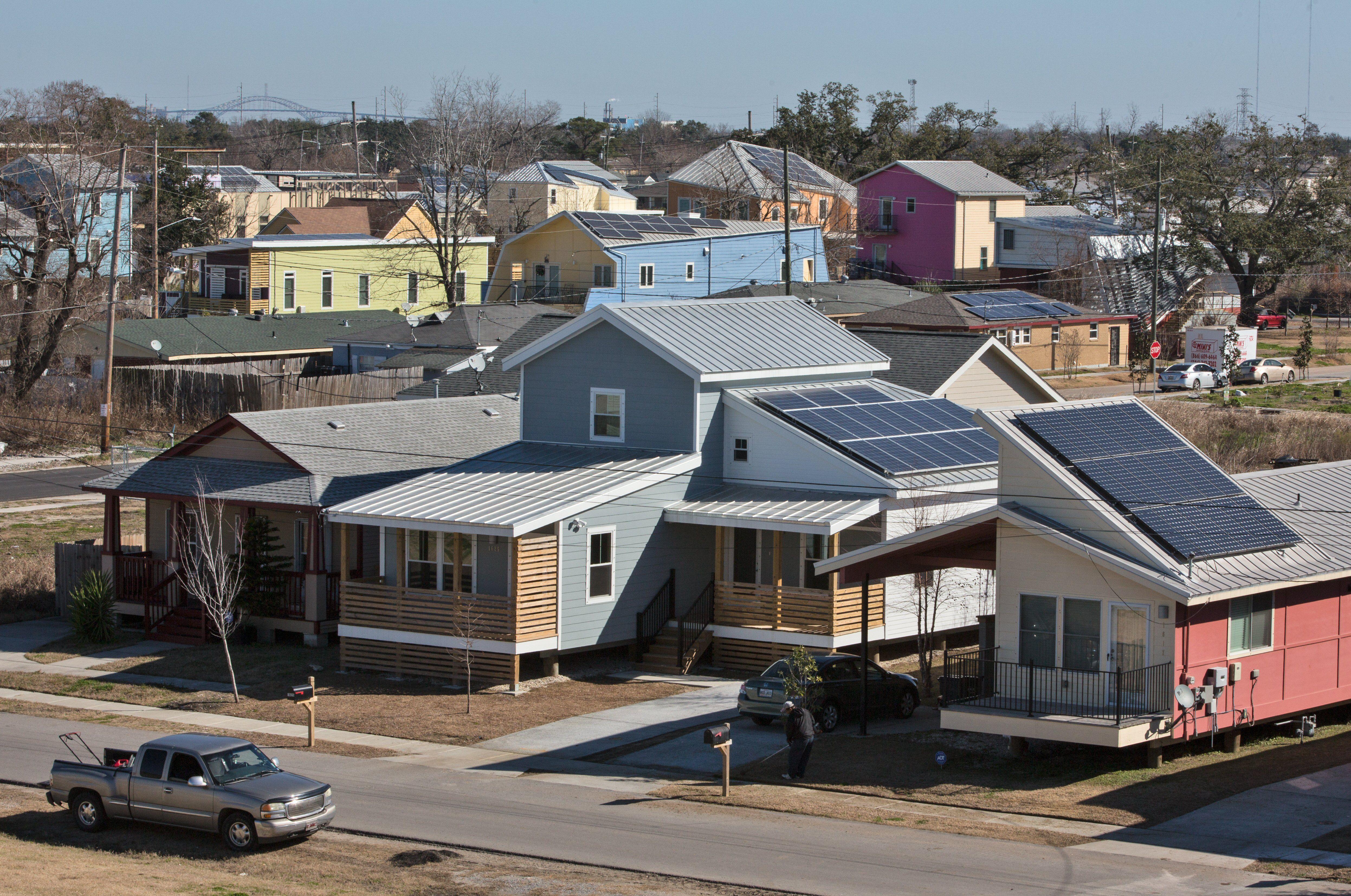 neighborhood of low-built, prefabricated homes