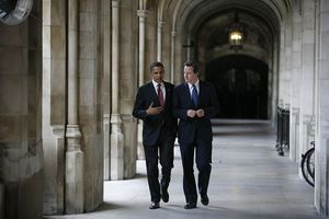 Barack Obama and David Cameron walking and talking