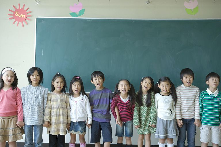 School children (6-11) singing in classroom