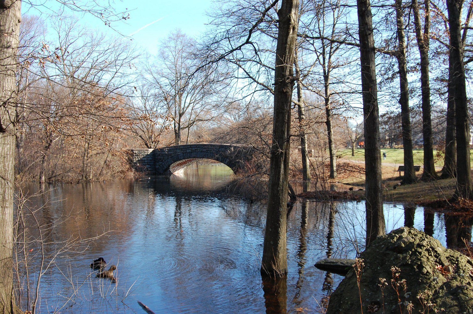 Φωτογραφία από πέτρινη γέφυρα πάνω από μια ήσυχη λίμνη σε ένα δημόσιο γήπεδο γκολφ.