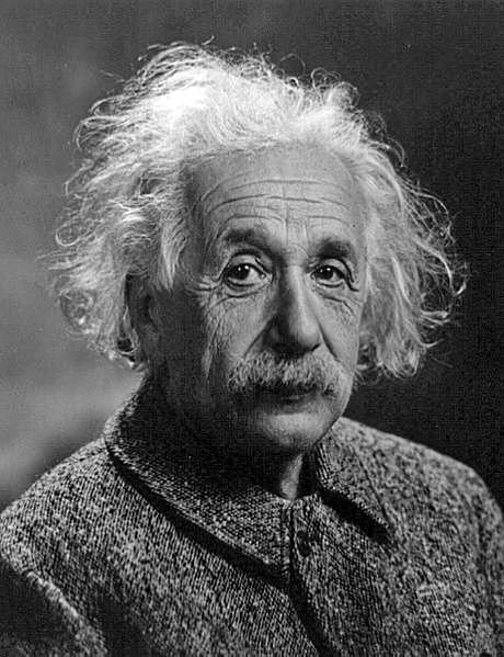 Photograph of Albert Einstein (1947).