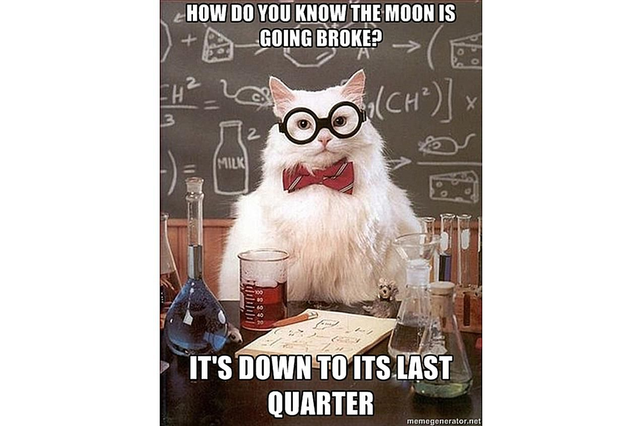 Chemistry Cat knows the Moon is having hard times.