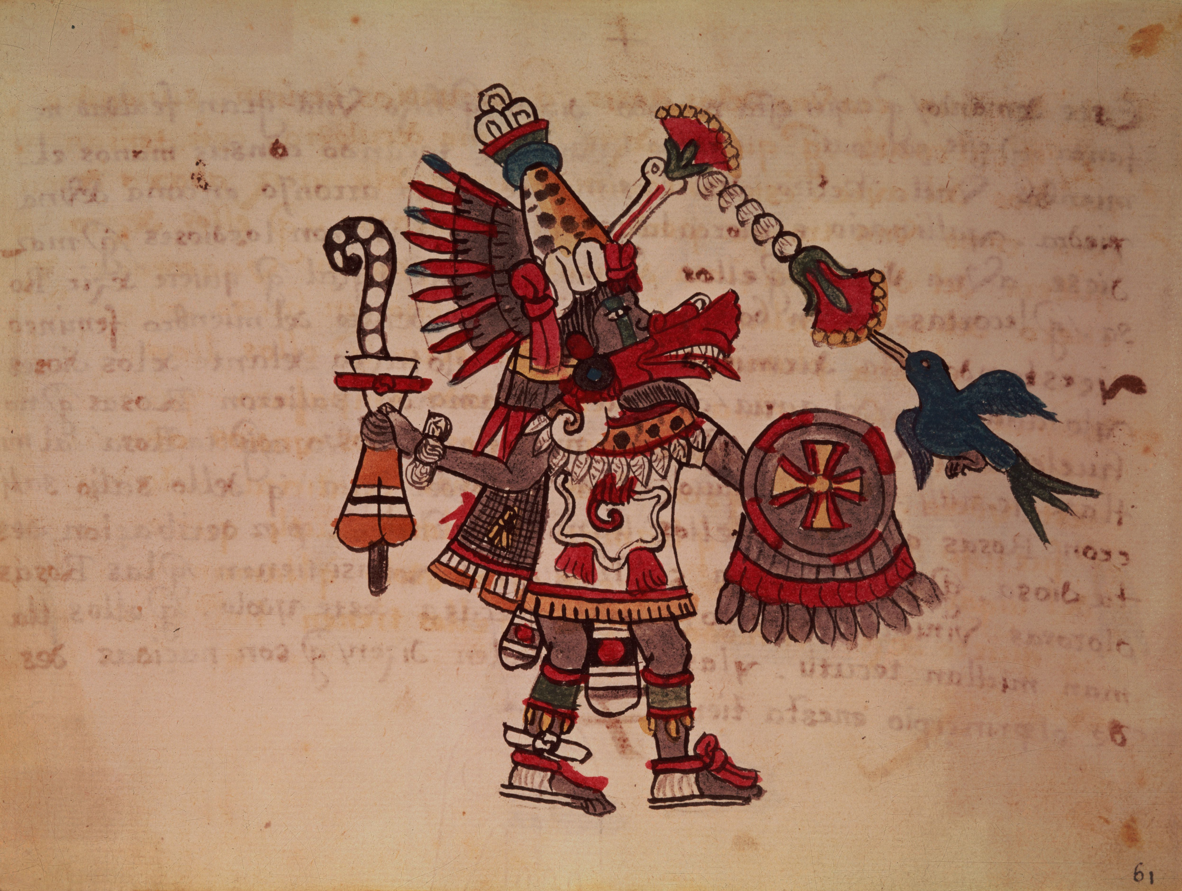 Quetzalcoatl, the Toltec and Aztec god; the plumed serpent, god of the wind, learning and the priesthood, master of life, creator and civiliser, patron of every art and inventor of metallurgy (manuscript)