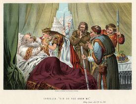 King Lear comforted by youngest daughter Cordelia.