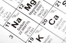 close up of sodium on periodic table
