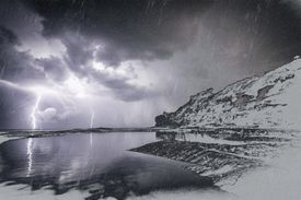Thundersnow is a rare event associated with a winter thunderstorm.
