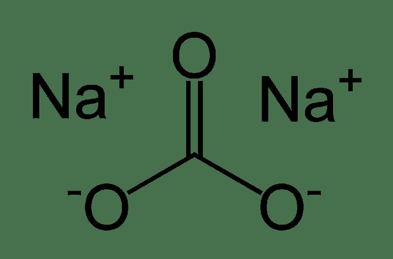 Esta es la estructura química del carbonato de sodio.