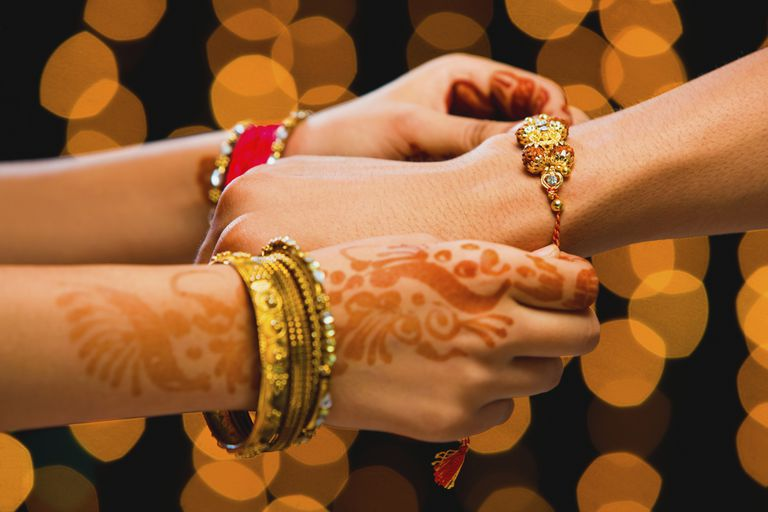 Siblings exchanging Rakhi bracelets.