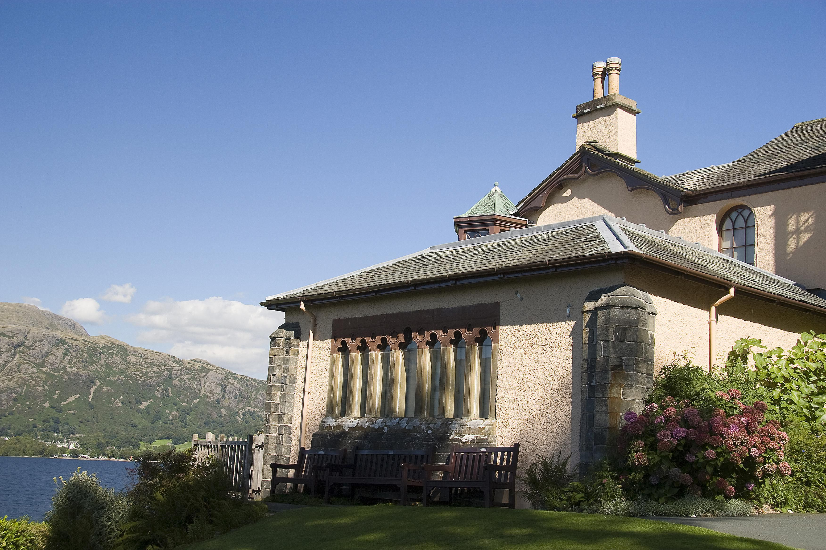 John Ruskin's Lake District home called Brantwood, at Coniston, Cumbria in England