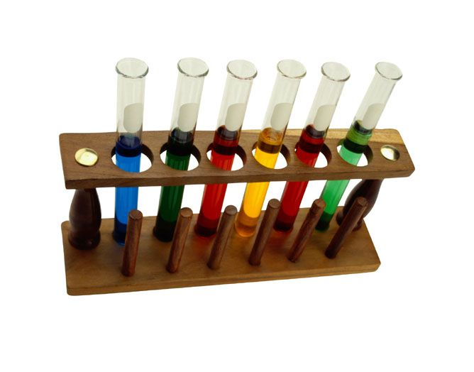 Test tubes in a test tube rack.