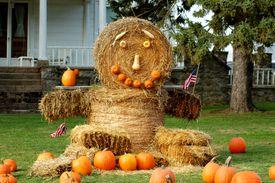 Hay bale man with pumpkins