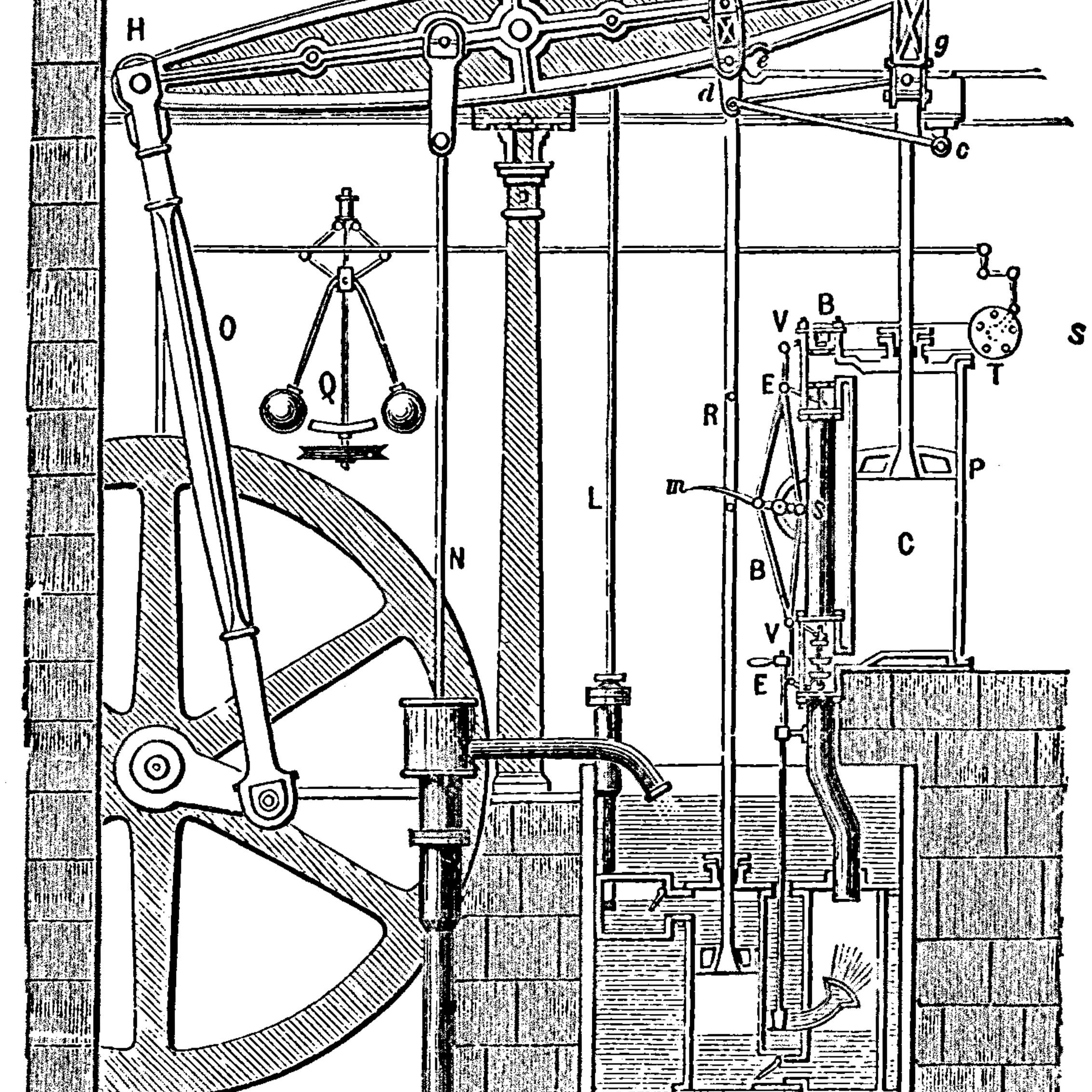 Sketch showing a steam engine designed by Boulton & Watt, England, 1784.