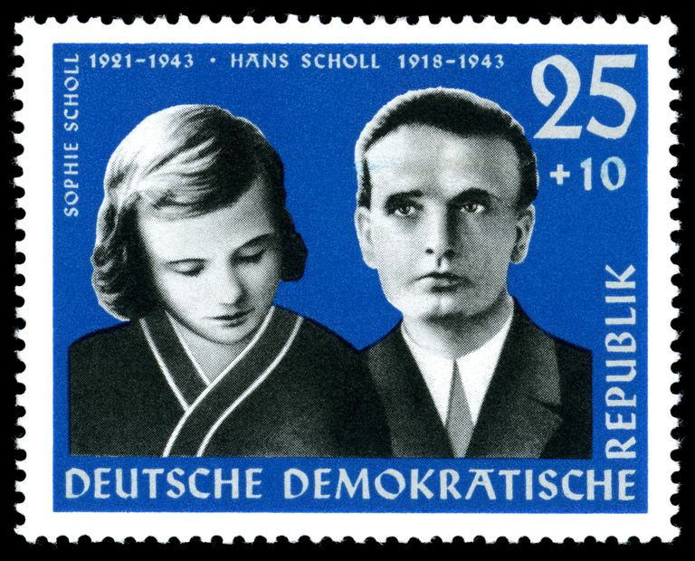 Hans and Sophie Scholl on a postage stamp