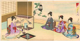 Full color drawing of Japanese women at a tea ceremony.
