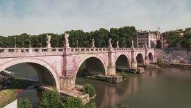 Ponte Sant'Angelo bridge spanning the Tiber River.