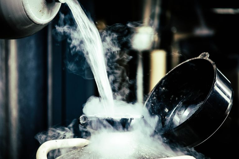 Liquid nitrogen produces water fog in food. It vaporizes into harmless nitrogen gas.