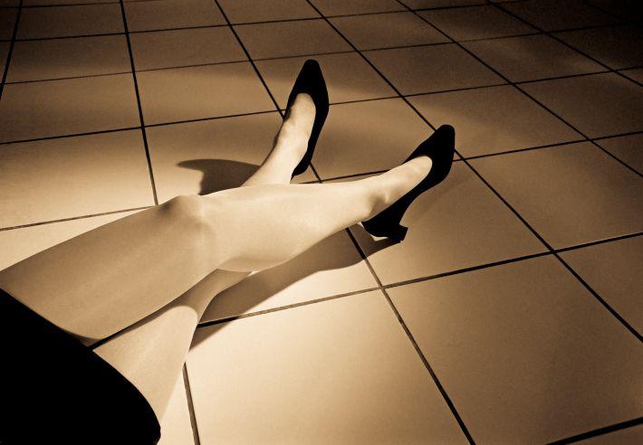 Woman Wearing Pantyhose