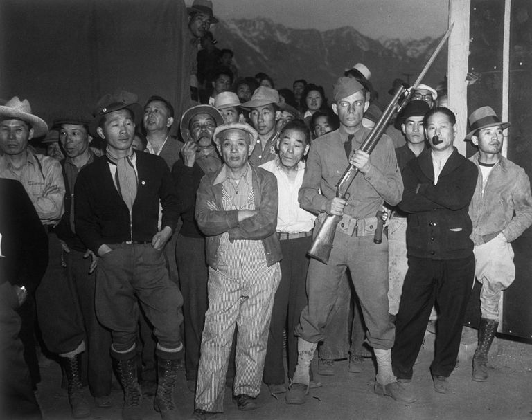 Japanese Internees Under Guard, ca. 1944