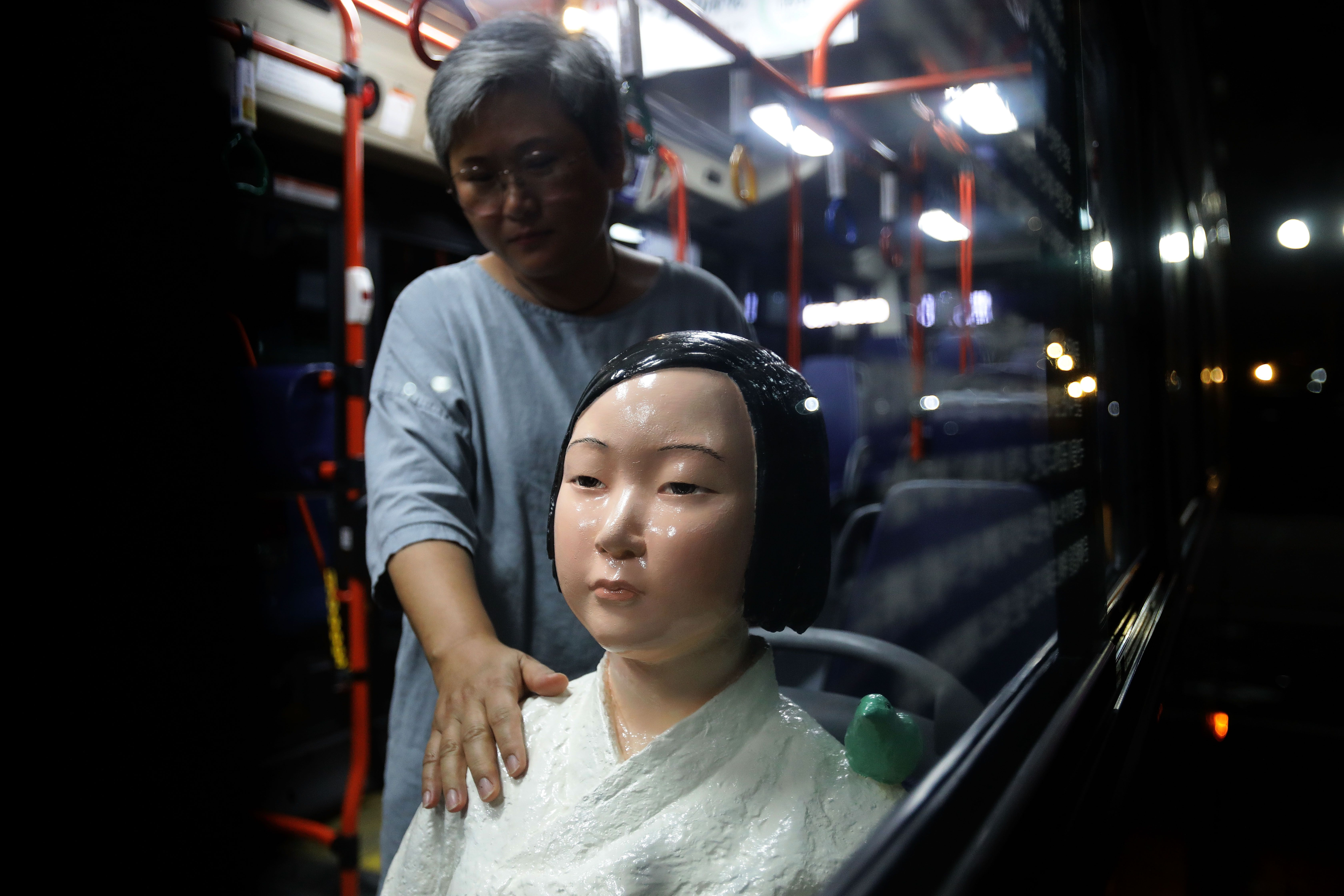 Seoul Bus Runs With 'Comfort Woman' Sex Slave Statue Ahead Of Liberation Day