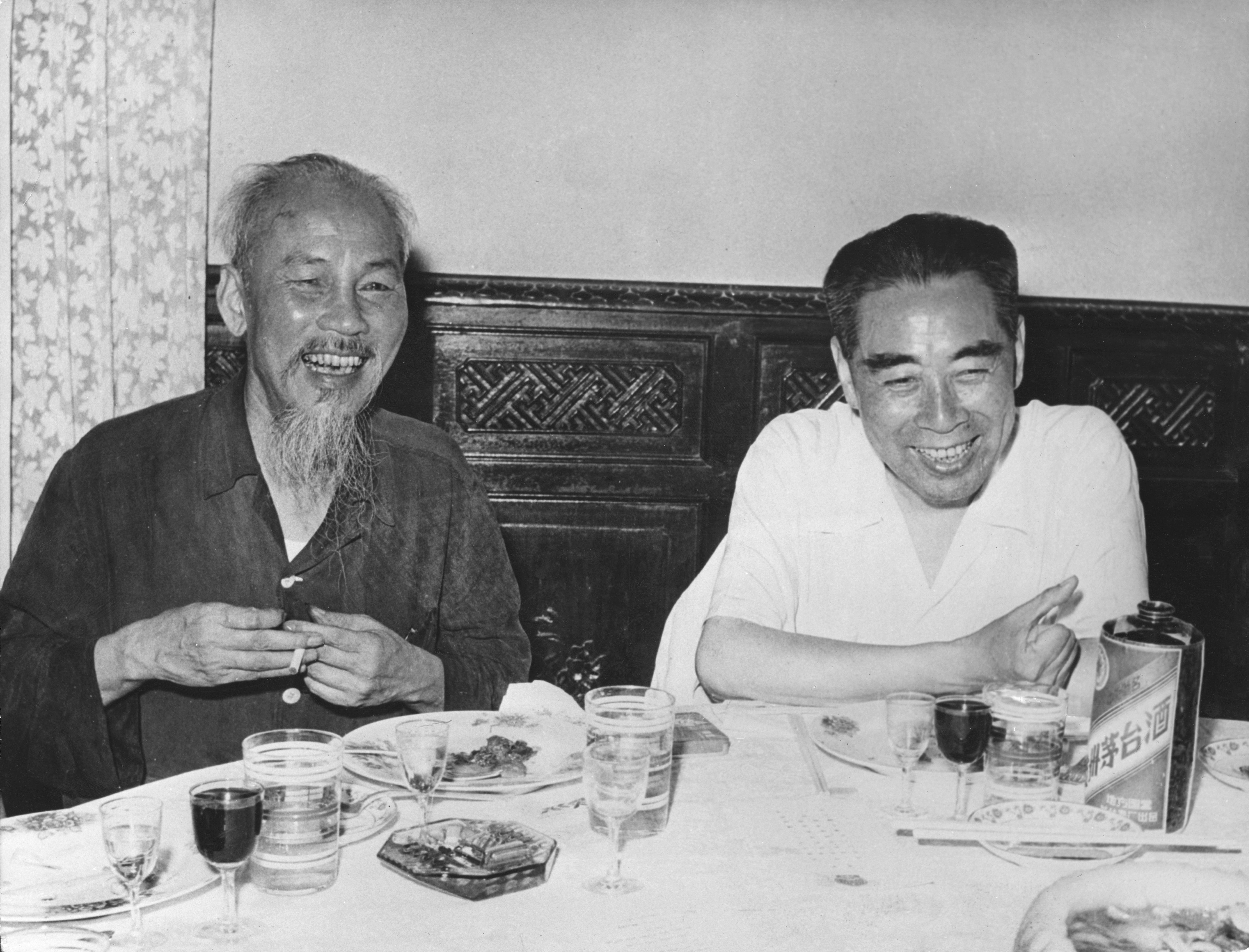 North Vietnamese President and communist revolutionary leader Ho Chi Minh (1890–1969, left) with Prime Minister of the People's Republic of China, Zhou Enlai (1898–1976) in Vietnam, 1960.