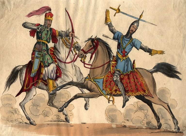 A crusader is shot by a Muslim warrior during the Crusades