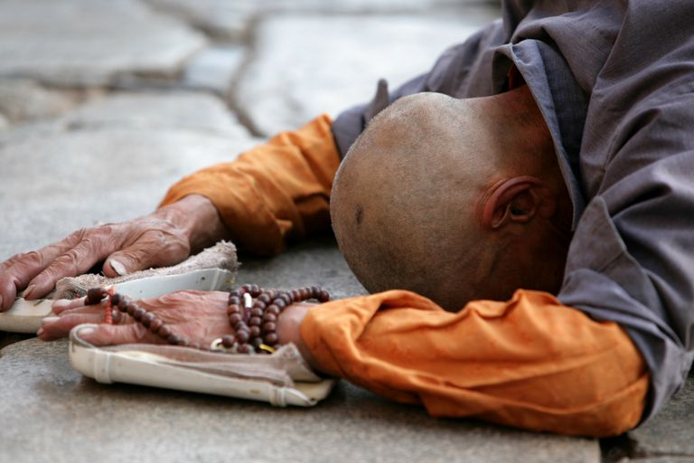 People - Old Tibetan Prostrating