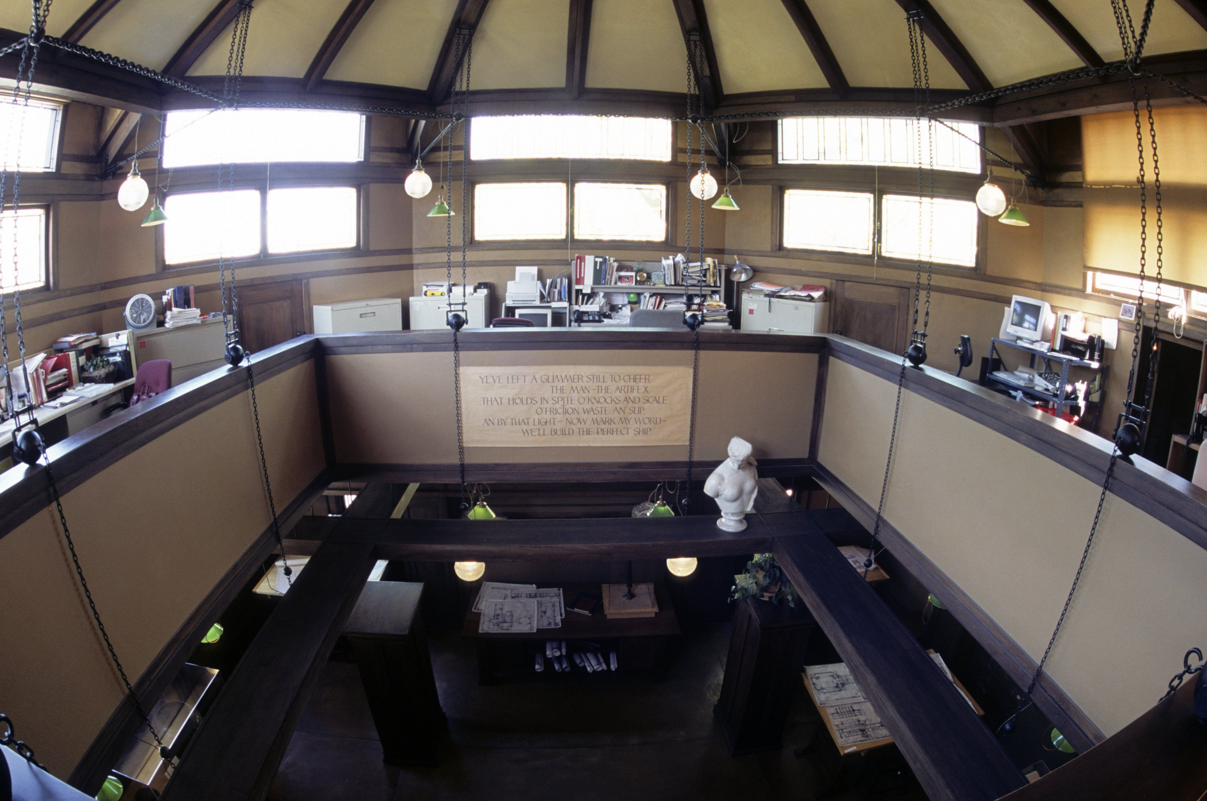 two level large space, balcony overlooking lower floor, Inside Frank Lloyd Wright's Studio, attached to his house in Oak Park, Illinois
