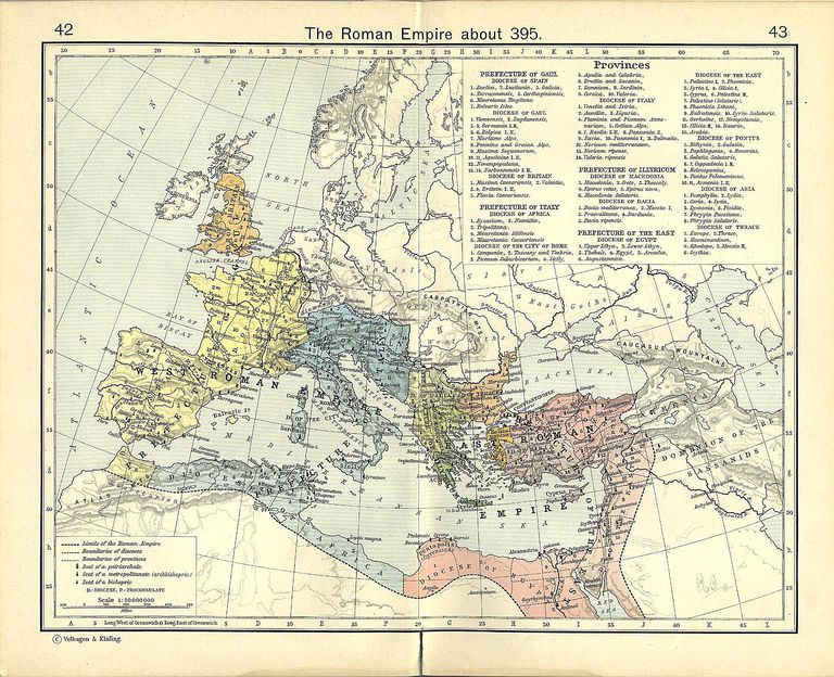 Map of the Western Roman Empire and Map of the Eastern Roman Empire in A.D. 395.