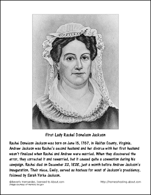 First Lady Rachel Jackson Coloring Page