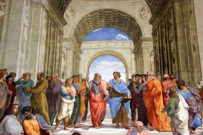 Oil painting depicting Greek philosophers and citizens.