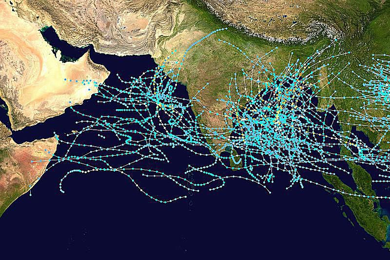 tracks of north Indian tropical cyclones 1980-2005