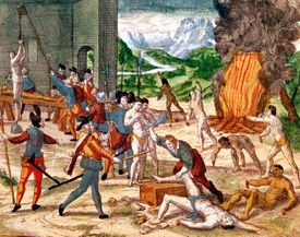Painting of Spanish conquistadors torturing naive Americans