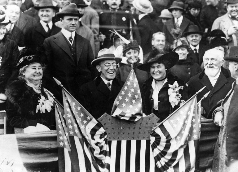 President Woodrow Wilson and wife Edith in 1918