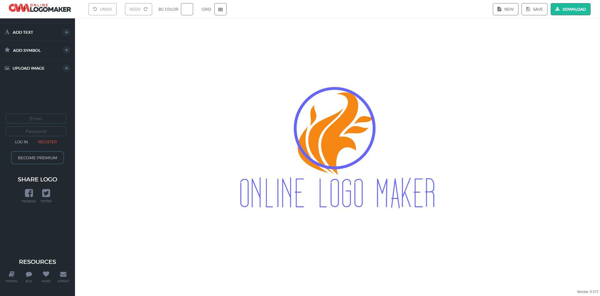 Screenshot of the Online Logo Maker workspace