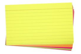stack of various colored note cards