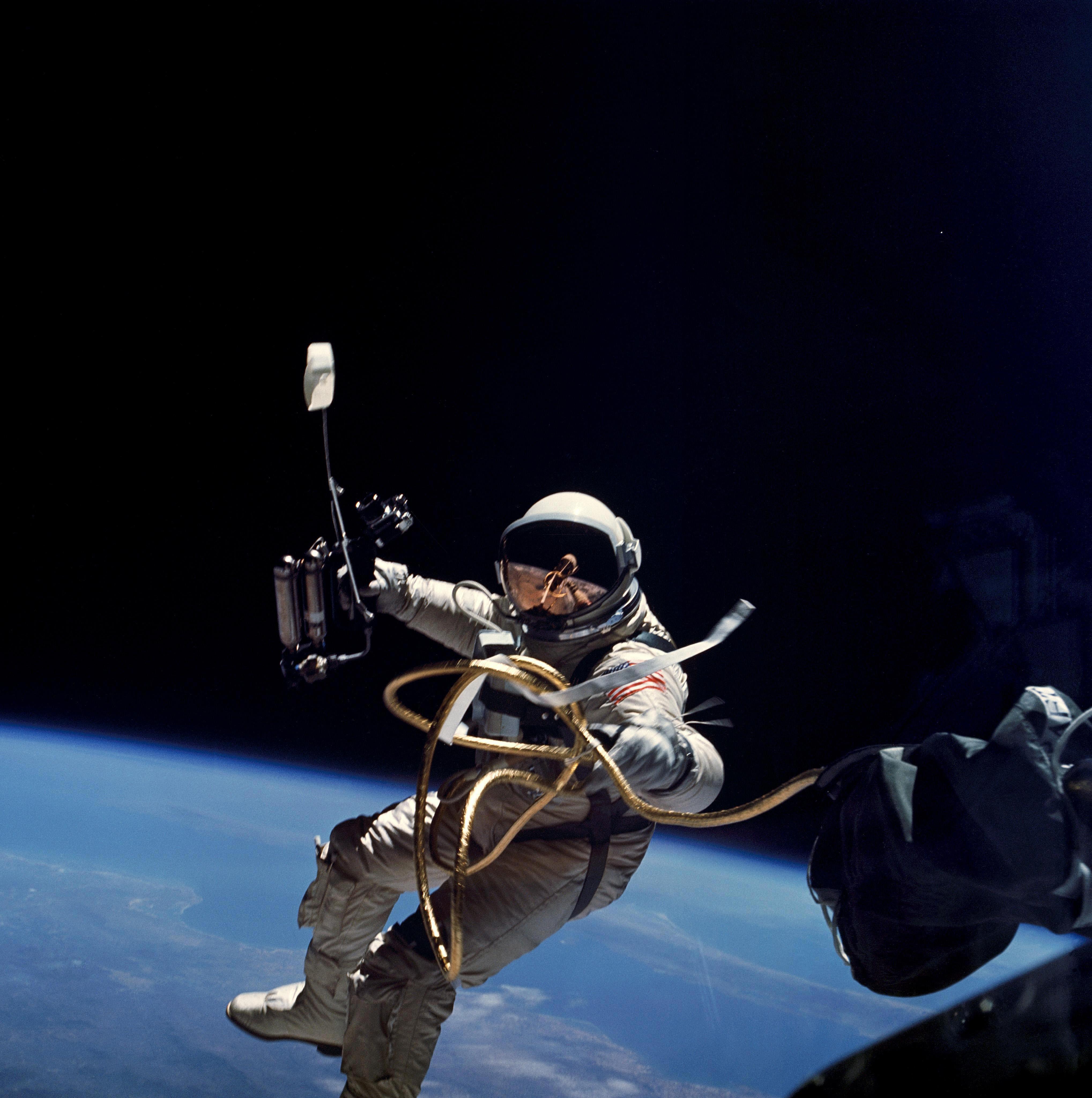 Astronaut Edward White during first EVA performed during Gemini 4 flight