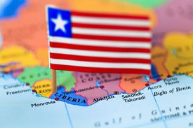 Map and flag of Liberia