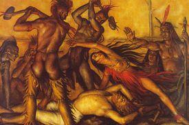 Painting of Pocahontas saving John Smith from 1607