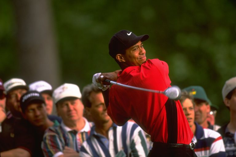 Tiger Woods plays during the final round of the 1997 Masters.