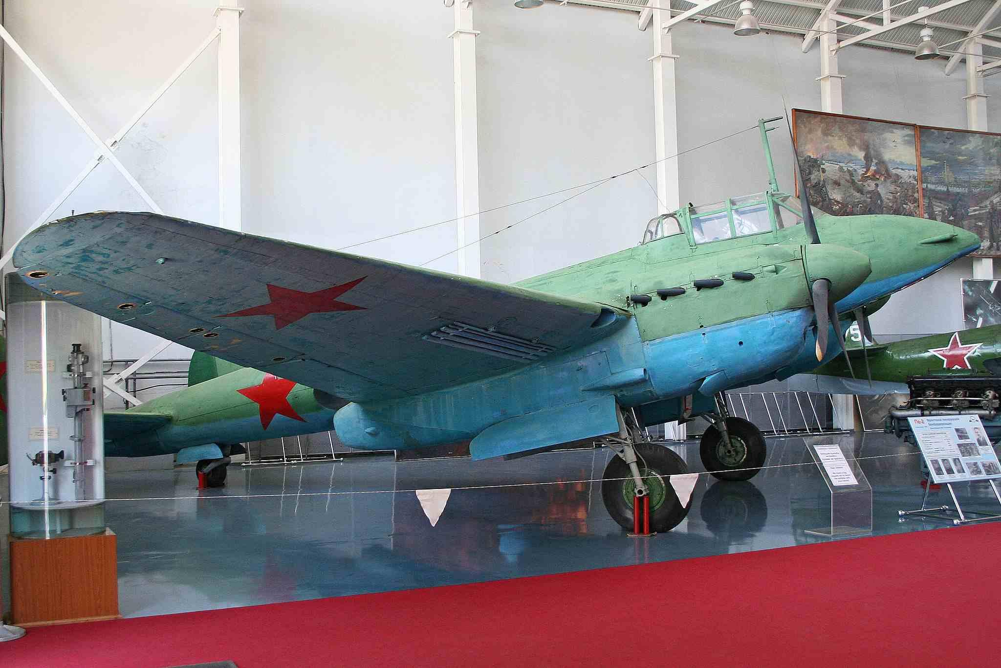 Restored Petlyakov Pe-2 on display at airshow.