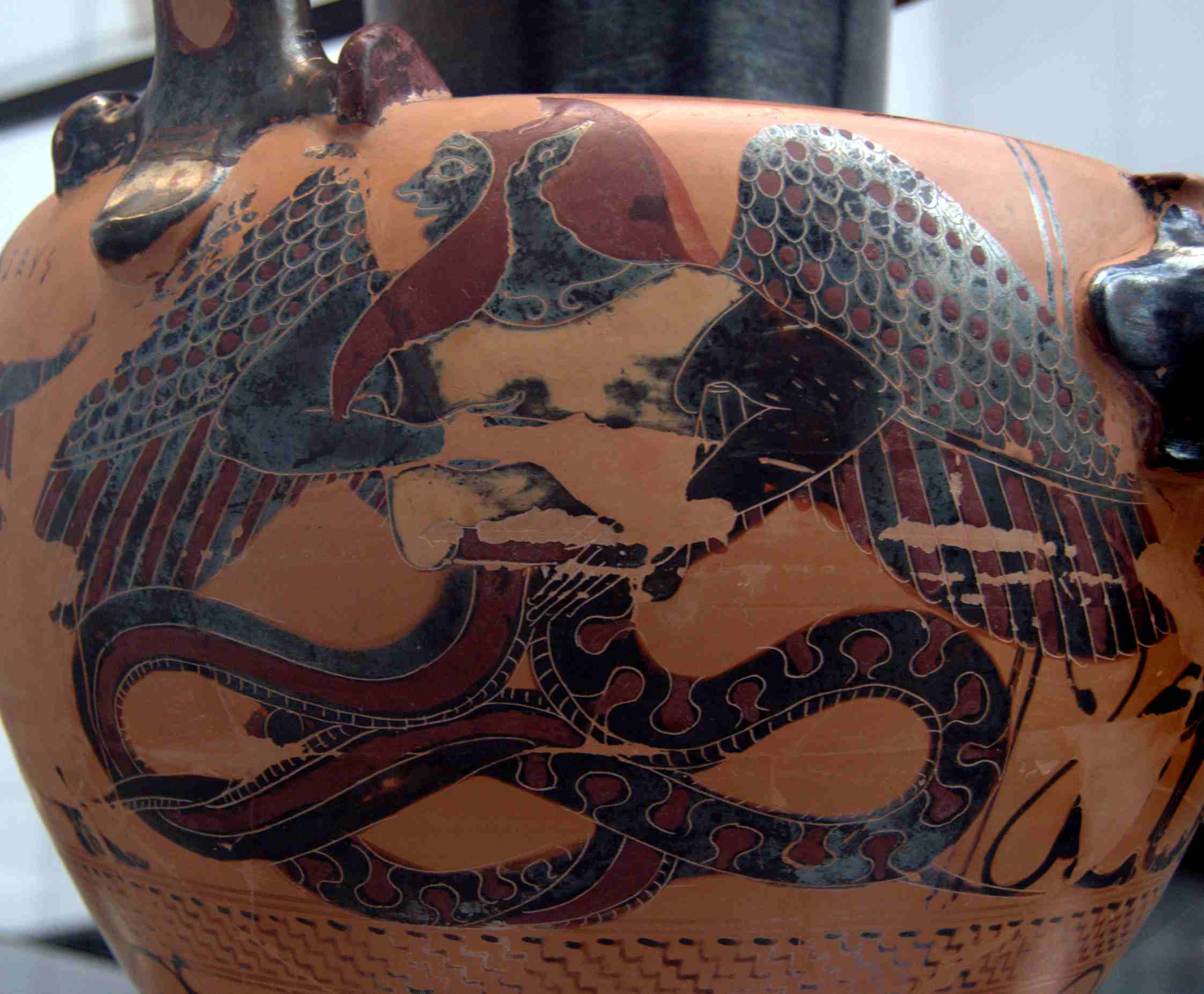 Typhon. Detail of the side B from a Chalcidian Black-figured Hydria, c. 550 B.C.