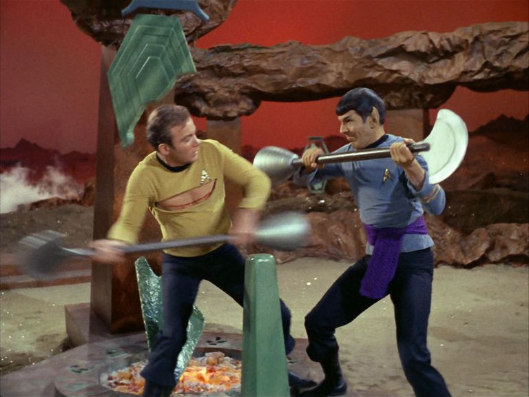 "Kirk (Shatner) and Spock (Nimoy) fight in the Star Trek episode ""Amok Time"""