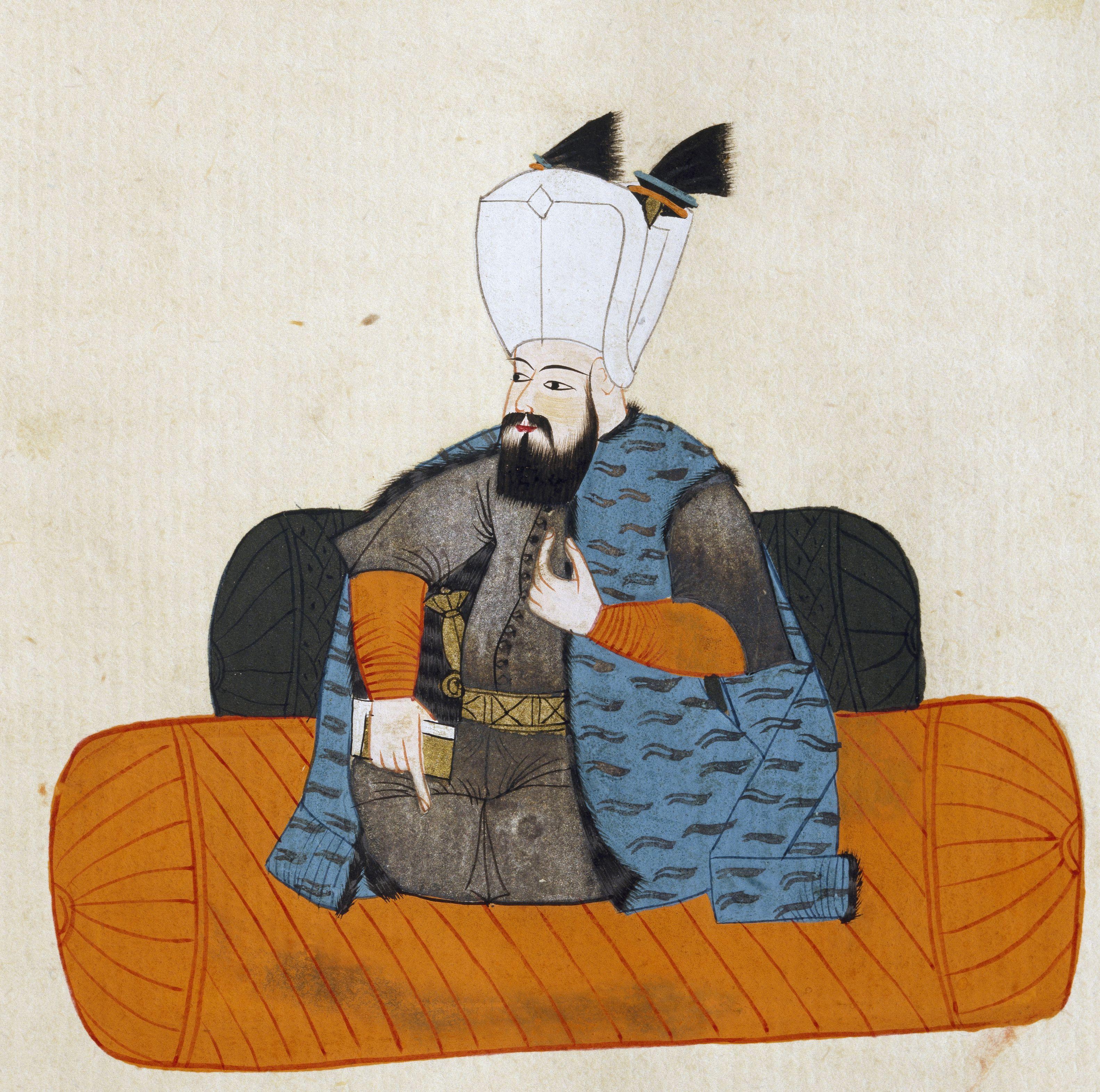 Portrait of Murad III (1546-1595), Sultan of Ottoman Empire, illustration from Turkish Memories, Arabic manuscript, Cicogna Codex, 17th century
