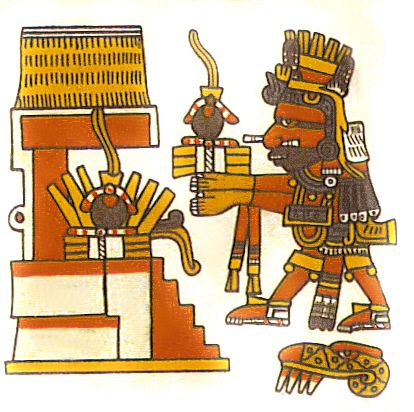 Aztec god Xiuhtecuhtli with an offering of rubber balls.