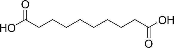 Esta es la estructura química del ácido sebácico.