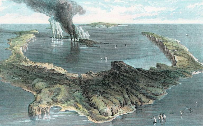 1866 Image of Santorini's Eruption circa 1500 BC