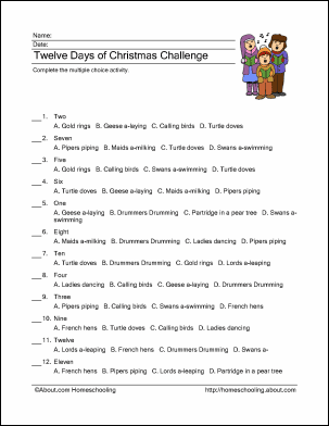 twelve days of christmas printables wordsearch more - 12 Days Of Christmas Lyrics