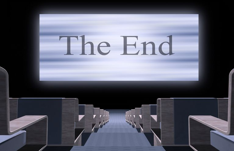 "graphic rendering of theater with ""The End"" on screen"