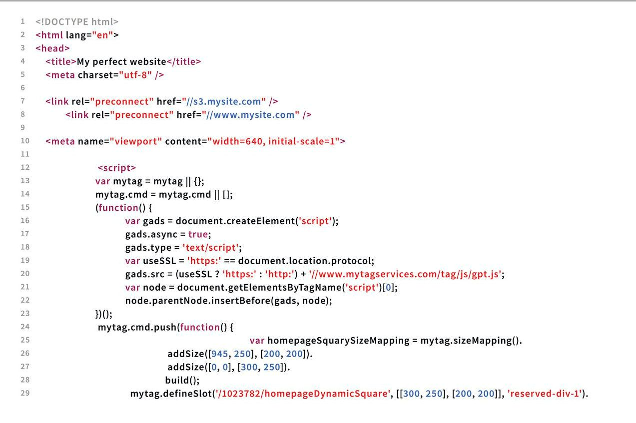 A website's source code.
